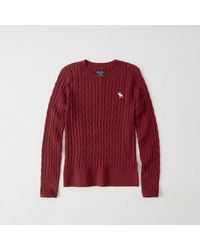 Abercrombie & Fitch - Red Icon Cable Crew Sweater for Men - Lyst
