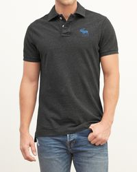 Abercrombie & Fitch - Gray Classic Fit Big Icon Polo for Men - Lyst