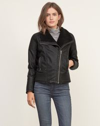 Abercrombie & Fitch - Black Sherpa Lined Vegan Leather Jacket - Lyst