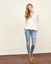 Abercrombie & Fitch - White Wrap Front Top - Lyst