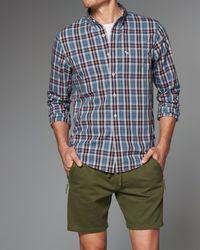 Abercrombie & Fitch - Blue Plaid Cotton Poplin Shirt for Men - Lyst