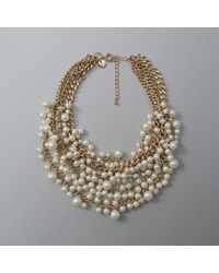 Abercrombie & Fitch - Metallic Faux Pearl Cluster Statement Necklace - Lyst