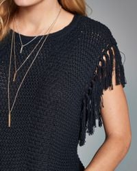Abercrombie & Fitch - Blue Fringe Top - Lyst