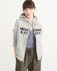 Abercrombie & Fitch - Gray Heritage Logo Sherpa Hoodie - Lyst