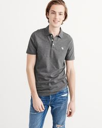 Abercrombie & Fitch - Gray Stretch Icon Polo for Men - Lyst