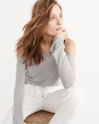 Abercrombie & Fitch   Gray Tie-hem Cold-shoulder Tee   Lyst