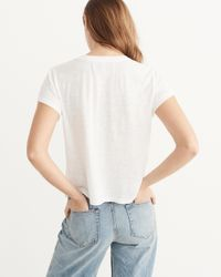 Abercrombie & Fitch - White Embroidered Logo Tee - Lyst