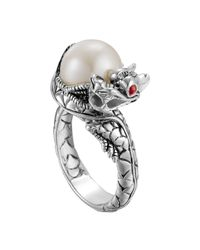 John Hardy - Metallic Naga Silver Lava Small Dragon Ring With Freshwater Pearl - Lyst
