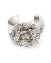 Valentino | Metallic Crystal Encrusted Rose Cuff | Lyst