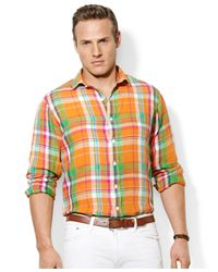 Polo Ralph Lauren - Orange Polo Big and Tall Longsleeve Plaid Linen Shirt for Men - Lyst
