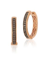 Le Vian | Metallic Brown Diamond And 14k Rose Gold Hoop Earrings, 0.68in | Lyst