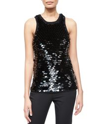 Michael Kors | Black Womens Ring-sequin Tank | Lyst