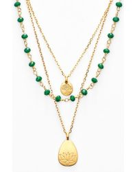 Satya Jewelry | Green Beaded Layered Necklace | Lyst