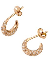 Dinny Hall | Metallic Mini Rose Gold Diamond Bijou Hoop Earrings | Lyst
