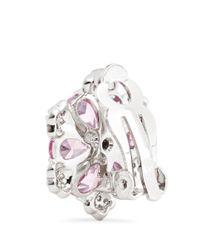 CZ by Kenneth Jay Lane - Pink Pear Cut Pavé Flower Clip Earrings - Lyst