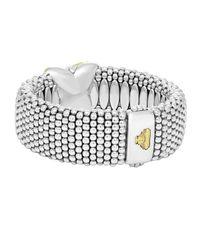 Lagos - Metallic Silver Caviar Bracelet With Diamond X - Lyst