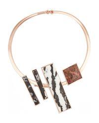 Eddie Borgo - Metallic Composition Collar Rose Gold-plated Jasper Necklace - Lyst
