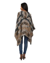 BCBGeneration - Gray Winter Tribal Hooded Wrap - Lyst