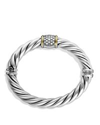 David Yurman | Metallic Metro Bracelet With Diamonds And Gold | Lyst