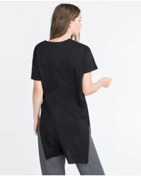 Zara | Black Long Printed T-shirt | Lyst