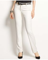 Ann Taylor - White Tall Signature Stretch Straight Leg Slim Pants - Lyst