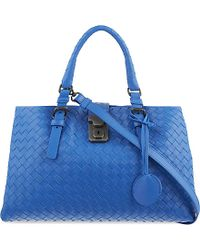 Bottega Veneta - Blue Roma Intrecciato Leather Cross-body Bag - Lyst