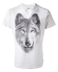 DIESEL - Gray Wolf Print T-Shirt for Men - Lyst