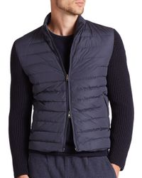 Eleventy - Blue Knit-sleeve Quilted Down Jacket for Men - Lyst