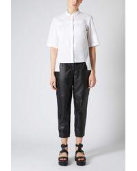 TOPSHOP - Half Sleeve White Shirt - Lyst