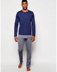 Esprit - Blue T-shirt & Lounge Pants In Regular Fit for Men - Lyst