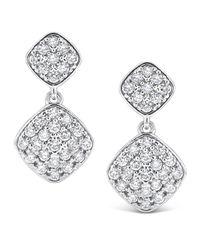 KC Designs - White Pavé Diamond Square Dangle Earrings - Lyst