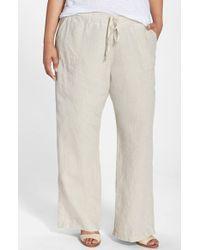 Allen Allen - Natural Drawstring Linen Pants - Lyst