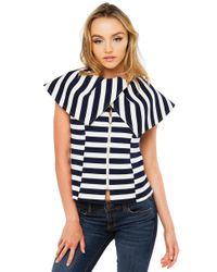 Gracia | Blue I'm On A Boat Navy White Striped Neoprene Top | Lyst
