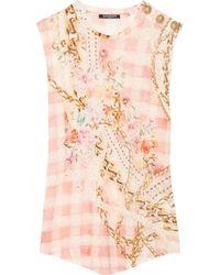 Balmain - Pink Printed Linenjersey Top - Lyst