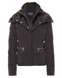 Armani Jeans - Black Faux Fur Puffa Jacket - Lyst