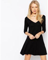 ASOS - Black Skater Dress With V Front And V Back - Lyst