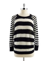 Jessica Simpson | Black Striped Loose Knit Sweater | Lyst
