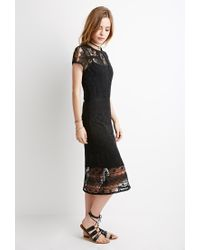 Forever 21 - Black Semi-sheer Ornate Crochet Dress - Lyst