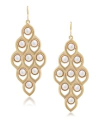 Carolee | Metallic Faux Pearl Chandelier Earrings | Lyst