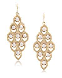Carolee | Metallic Faux Pearl Chandelier Earrings | Lyst