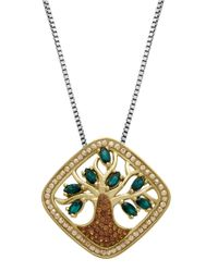 Lord & Taylor | Sterling Silver And Green Crystal Pendant Necklace | Lyst