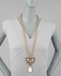 Oscar de la Renta | Metallic Crystal Panther Brooch Pendant Necklace | Lyst
