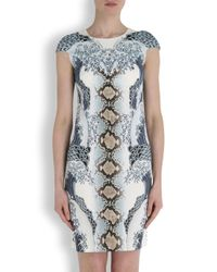 Just Cavalli | Blue Wave Print Stretch Jersey Dress | Lyst