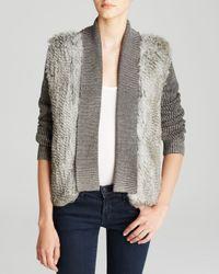 Nicole Miller Artelier | Gray Sweater - Knit Rabbit Fur Combo | Lyst