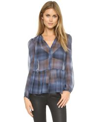 Rebecca Taylor | Blue Shadow Plaid Top - Denim Combo | Lyst
