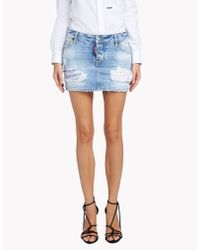 DSquared² - Blue California Low Waist Skirt - Lyst