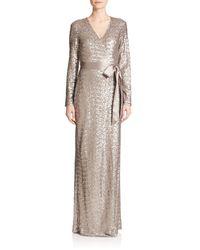 Diane von Furstenberg | Metallic Ariel Sequined Silk Wrap Gown | Lyst
