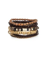 River Island | Brown Ecru Beaded Bracelets Pack | Lyst