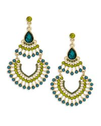 Cara | Blue Beaded Chandelier Earrings | Lyst