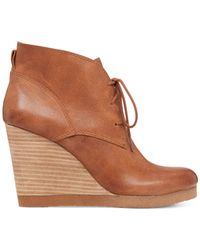 Lucky Brand | Brown Women's Taheeti Lace-up Wedge Booties | Lyst